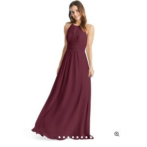 Burgundy High-neck Bridesmaid Dress